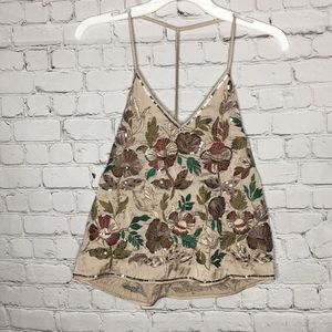 ZARA Embroidered beaded floral tank top